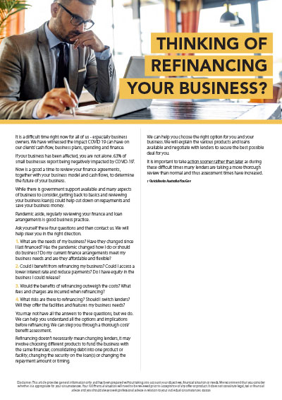 Thinking of refinancing your business?